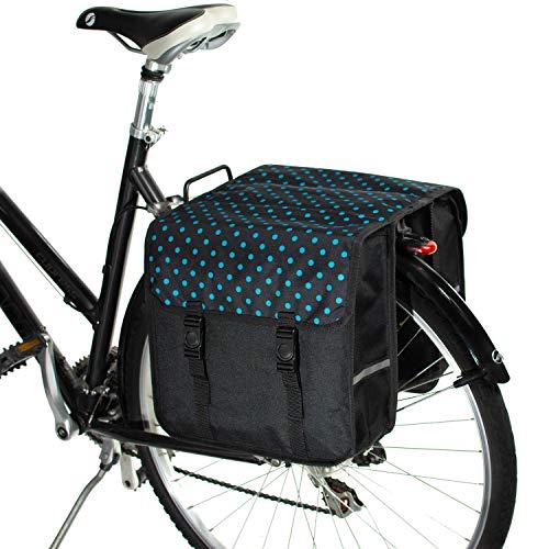 BikyBag Clásica - Doble Alforjas para Bicicletas (Lunares Azules)