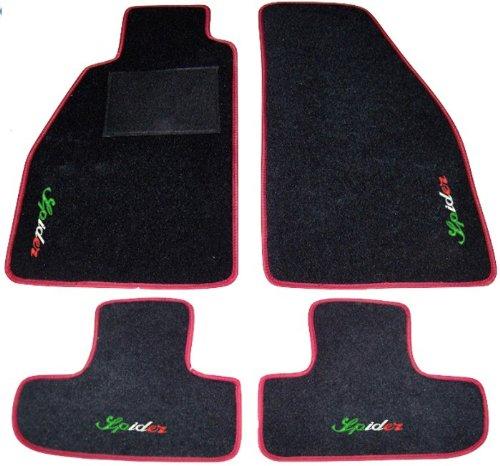 Lot complet de tapis de voiture noirs avec bord rouge, sur mesure avec broderie en fil tricolore italien