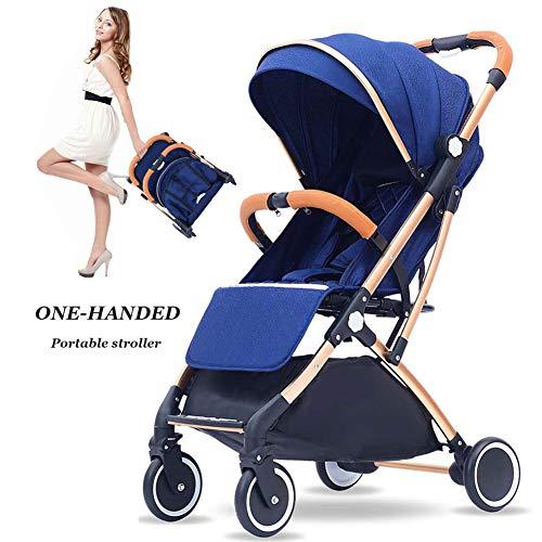 ZHAONI kinderwagen lichtgewicht vouwen, paraplu kinderwagen lichtgewicht, hoog landschap, opvouwbare aluminium stoel met verstelbare rugleuning (blauw)