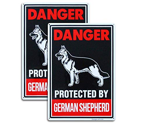 Large Beware of German Shepherd Sign,Beware of Dog Sign Reflective 10x14 inch Rust Free 30 mil Thick Aluminum,UV Printed Weather Resistant Ink,Easy to Mount for Fence (2-Pack)