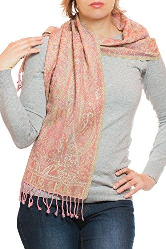 ufash Pashmina Wollschal, fein & elegant, aus Punjab, Indien, Paisley Muster, 160 x 35 cm - 100% Wolle