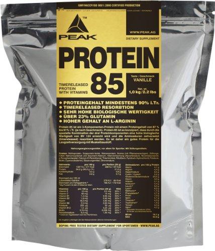Peak Protein 85 mit 88{869b31a0c8d1f4efcb2ea3d08dbf9d112d633c01e10234c9696312e588527957} Eiweiß, 1000g Beutel, Vanille
