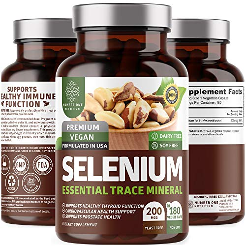 N1N Premium Pure Selenium [Max Absorption, 200MCG] to Support Immunity, Heart, Thyroid and Prostate Health, 180 Veg Caps