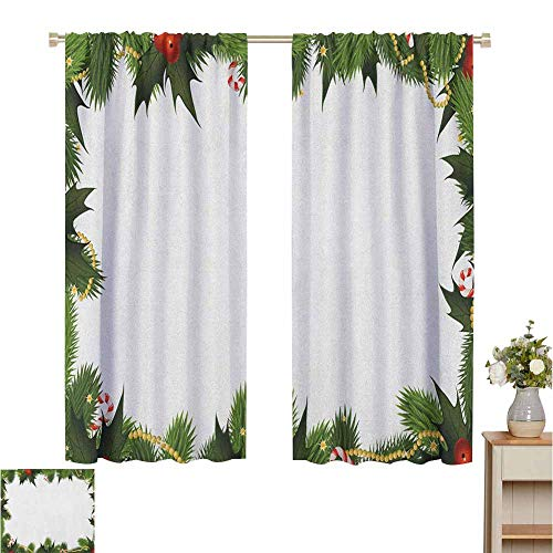 Blackout Curtains for Living Room Curtains for Living Room Frame Style Garland Pattern Mistletoes Candy Canes and Chain on Fir Tree Motif Fern Green Red Indoor Decoration Set of 2 Panels W55 x L72