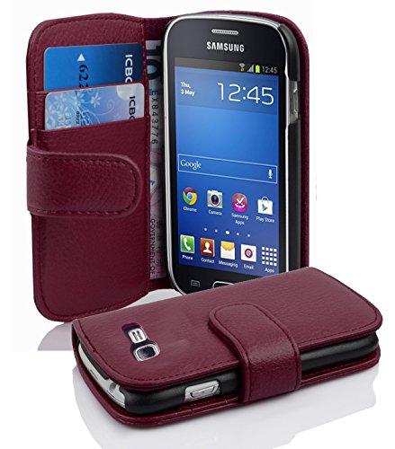 Cadorabo Custodia Libro per Samsung Galaxy Trend Lite in Lila Bordeaux - con Vani di Carte e Funzione Stand di Similpelle Strutturata - Portafoglio Cover Case Wallet Book Etui Protezione