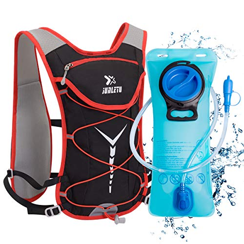BTNEEU Mochila de Hidratación Ligero, Mochila con Bolsa de Agua 2L para Mujer Hombre, 6L Respirable Unisex Mochilas Trail Running para Correr, Senderismo, Ciclismo, Camping, Maratón