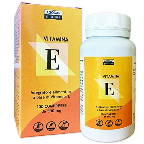 Vitamina E, 200 compresse | Prodotto in Italia, alto dosaggio | Vitamina E pura, massimo dosaggio consentito dalla normativa Italiana | Agocap, integratore vitamina e, tocoferolo puro