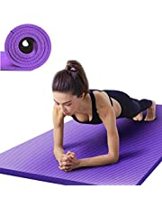 Träningsmatta halkfri NBR fitness yogamatta 15 mm extra tjock hög täthet miljövänlig träningsmatta för pilates, fitness och träning, praktisk yogamatta med bärrem