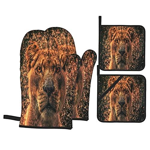 Guanti da forno e presine Set 4 pezzi,Fantasy Lion Lioness Creative Sparks Ray,Guanti da forno resistenti al calore antiscivolo per cucina, cucina, barbecue, grigliate
