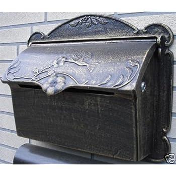 Melko Briefkasten Retro Postkasten Vintage Schwarz Wandbriefkasten Antik Design mit Namensschild und A4 Einwurf-Format