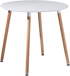 DORAFAIR Table Scandinave pour Salle à Manger et Salon Table Ronde Moderne Style Style Nordique, 80 x 72 CM,Blanc