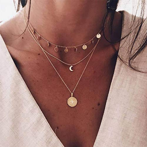 Handcess Boho - Collana a strati con ciondolo a forma di sole e luna, con paillettes e nappe, gioiello girocollo con cristalli per donne e ragazze
