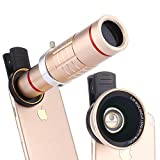 Elecguru HD Clip-on Camera Lens Kit,Universal 18X Zoom Telephoto Lens + 15X Super Macro Lens + 0.6X Wide Angle Lens for iPhone 7/6S/6 Plus/5/4,Samsung ,HTC and other Smartphones (Gold)