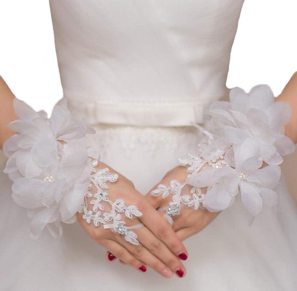 Women's Wedding Lace Gloves Lace Short Bridal Gloves White