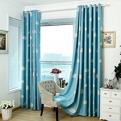 Tendine termico tende oscuranti con occhielli, nuvola stampato finestra tenda sheer panel Drapes sciarpe tenda per bambini camera da letto, soggiorno, Blue, 100*250cm