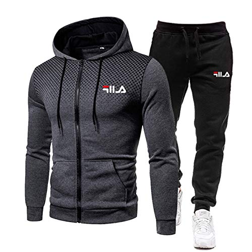 NFGH Tuta Uomo Completa Invernale - Pantaloni Tuta Uomo + Felpa da Uomo Set Felpa con Cappuccio con Zip Intera S-3xl Dark Gray-XL