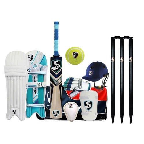 SG Premium Complete Cricket Kit with English Willow Bat in Senior Size (Helmet + bat + Gloves + leggurad pad + Abdominal pad + kitbag)