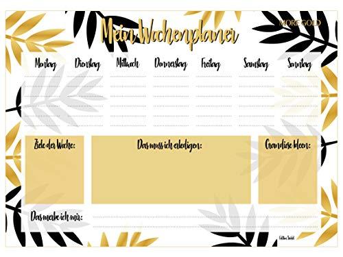 Edition Seidel - Vade de escritorio semanal para arrancar, DIN A3, 25 hojas, color dorado