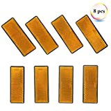 Eacal Reflectantes Remolque Rectangulares Amarillo Adhesivo Reflectores Catadioptrico Rectangulares Reflectante para Remolque Bicicleta Camión o Máquinas Agrícolas Paquete de 8