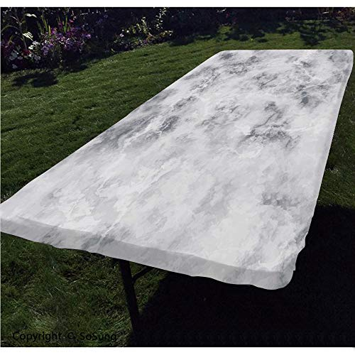 Marble Polyester Fitted Tablecloth,Granite Surface Pattern with Stormy Details Natural Mineral Formation Print Decorative Rectangular Elastic Edge Fitted Table Cover,Fits Rectangular Tables 48x24 Lig