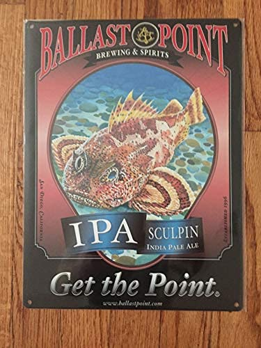 MAIBU Ballast Point Sculpin Fish Craft Beer Brewery Label San Diego CA IPA,Funny Signs for Home Decor Tin Signs/Bar Sign/Wall Decor Bar Kitchen Coffee Farmhouse Wall Art 8'X12'