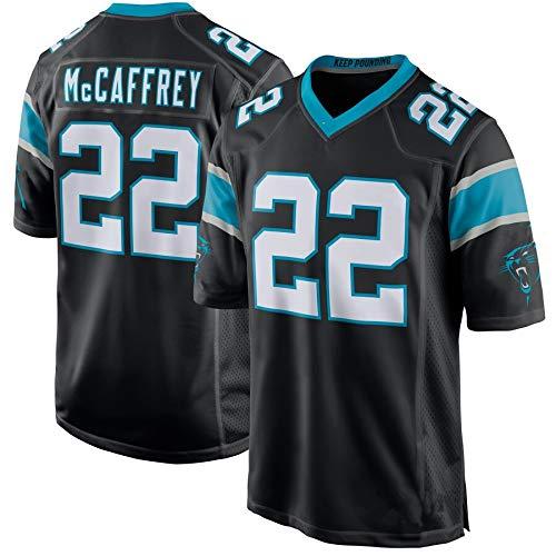 # 22christian Mccaffrey, Carolina Panthers, Trikots für Schwarze Spieler American Rugby Jersey Wiederholbare Reinigung Schnelltrocknende, atmungsaktive Kurzarm-Black-XXL