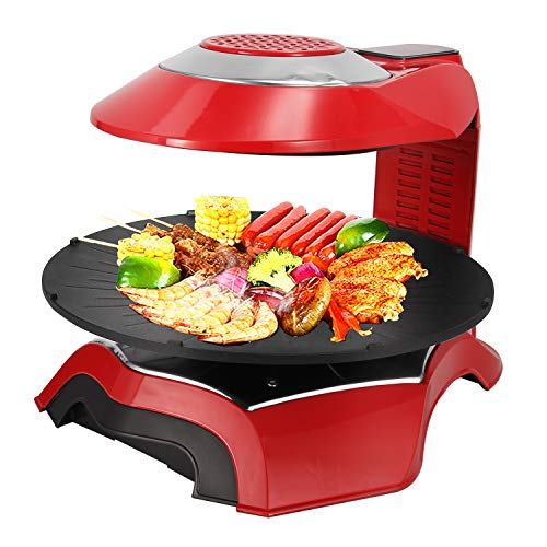 NEWTRY 3D Infrared Electric Griddles Barbecue Oven Commercial Home Kitchen BBQ LCD Touch Screen Grill Griller Temperature Timer Control for Indoor Outdoor Parties 110V Voltage Red