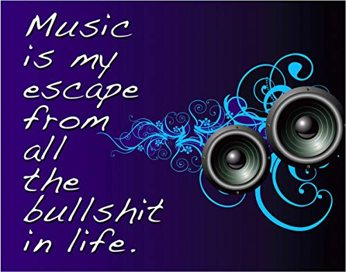 Music is my Escape from all the BS in Life - 11x14 Unframed Wall Art- Gift for Music Lovers - Looks Great in a Dorm, Bedroom or Game Room. Funk, R&B, Soul, Pop, New Wave, Rock. Poster Decor Under $20