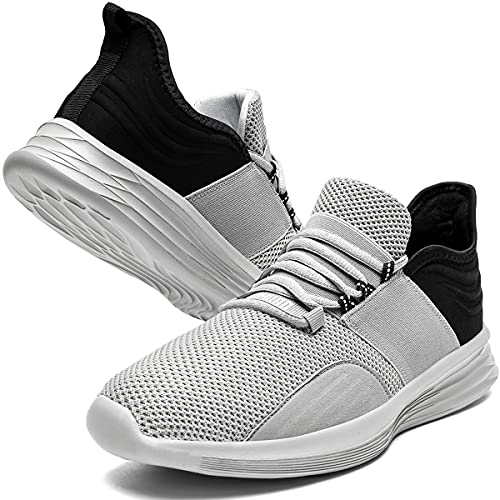 KULIXIE Mens Lightweight Running Tennis Shoes Casual Walking Gym Breathable Athletic Sneakers Grey