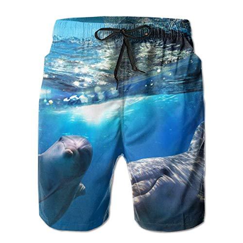 Schnelltrocknende Strandshorts für Männer Lächelnde Delfine Mesh-Futter Surfing Swim Board Trunks mit Taschen, Größe L.