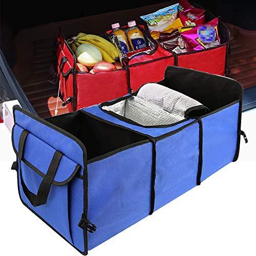 HIMAPETTR Plegable Organizador Maletero Coche, Organizador Maletero Coche con Función De Aislamiento, con Múltiples Compartimentos Bolsas para Maletero del Coche, Material De Tela Oxford,Azul