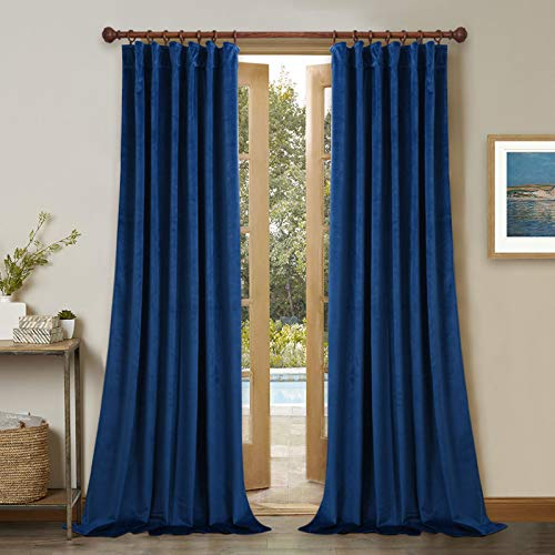 StangH Blue Velvet Blackout Curtains for Bedroom, Home Decor Thermal Insulated Window Luxury Drapes for Living Room, Royal Blue, Wide 52 x Long 84 inches, 2 Panels