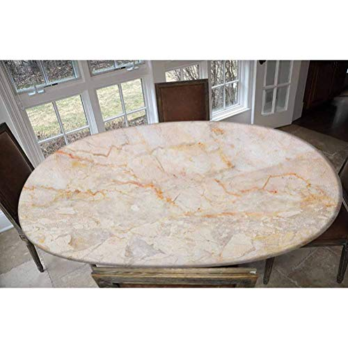 Marble Elastic Polyester Fitted Table Cover,Mine Pattern Design Natural Fractures Realistic Stained Surface Art Print Decorative Oblong/Oval Elastic Fitted Tablecloth,Fits Tables up to 48' W x 68' L