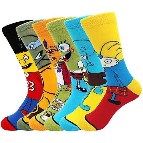 Casual Socks Men Women 6Pairs Funny Anime Socks Ninja Turtles SpongeBob Patterned Crew Socks Cartoon Novelty