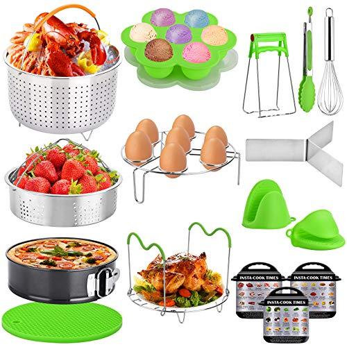 Instant Pot Zubehör-Set, 16-teilig, Instant Pot Zubehör, kompatibel mit 5, 6,8 Qt – Dampfkorb, Antihaft-Springform, Eier-Dampfgarer-Gestell, Eierstich-Form, Küchenzange
