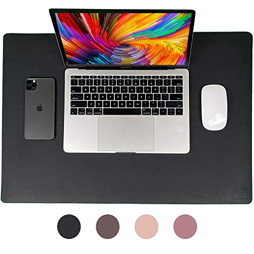 Black Nekmit Leather Desk Blotter Pad 17x12