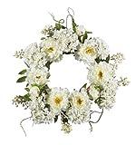 Nearly Natural 4690 Peony Hydrangea Wreath, 20-Inch, White