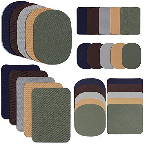 30 Pezzi Toppe Ferro su Tessuto Toppe per Riparazione Tessuto Kit Toppe per Riparazione Abbigliamento in Twill per Giacca, 5 Colori e 3 Taglie, 4,9 x 6,9 Pollici, 3,7 x 4,1 Pollici, 2 x 3 Pollici