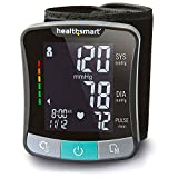 HealthSmart Digital Premium Wrist Blood Pressure Monitor with Cuff That Measures Pulse, Heartbeat and High or Low BP with 120-Reading Memory to Store up to 60 Readings for Two People, Black