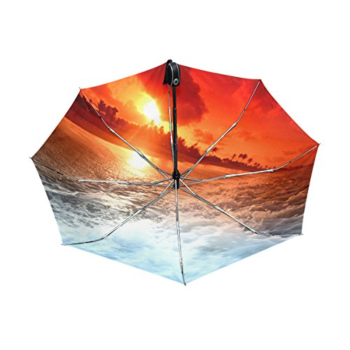 Franzibla Beach And Sunset View UPF 50+ Anti-UV Parasol Waterproof Windproof Reverse 3 Folds Auto Open Close Lightweight Umbrella