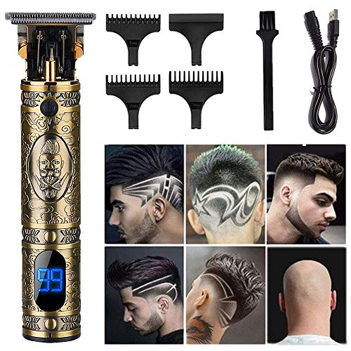 Outliner Trimmer,Electric Pro Li Outliner with LCD Cordless Gapped Trimmer Hair Clippers Professional Trimmer Edgers Liners Ornate T-blade Close Cutting Wireless Barber Gapped Clippers(Gold Knight).