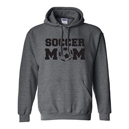 Soccer Mom Adult Hooded Sweatshirt in Dark Heather with Black Text - Medium
