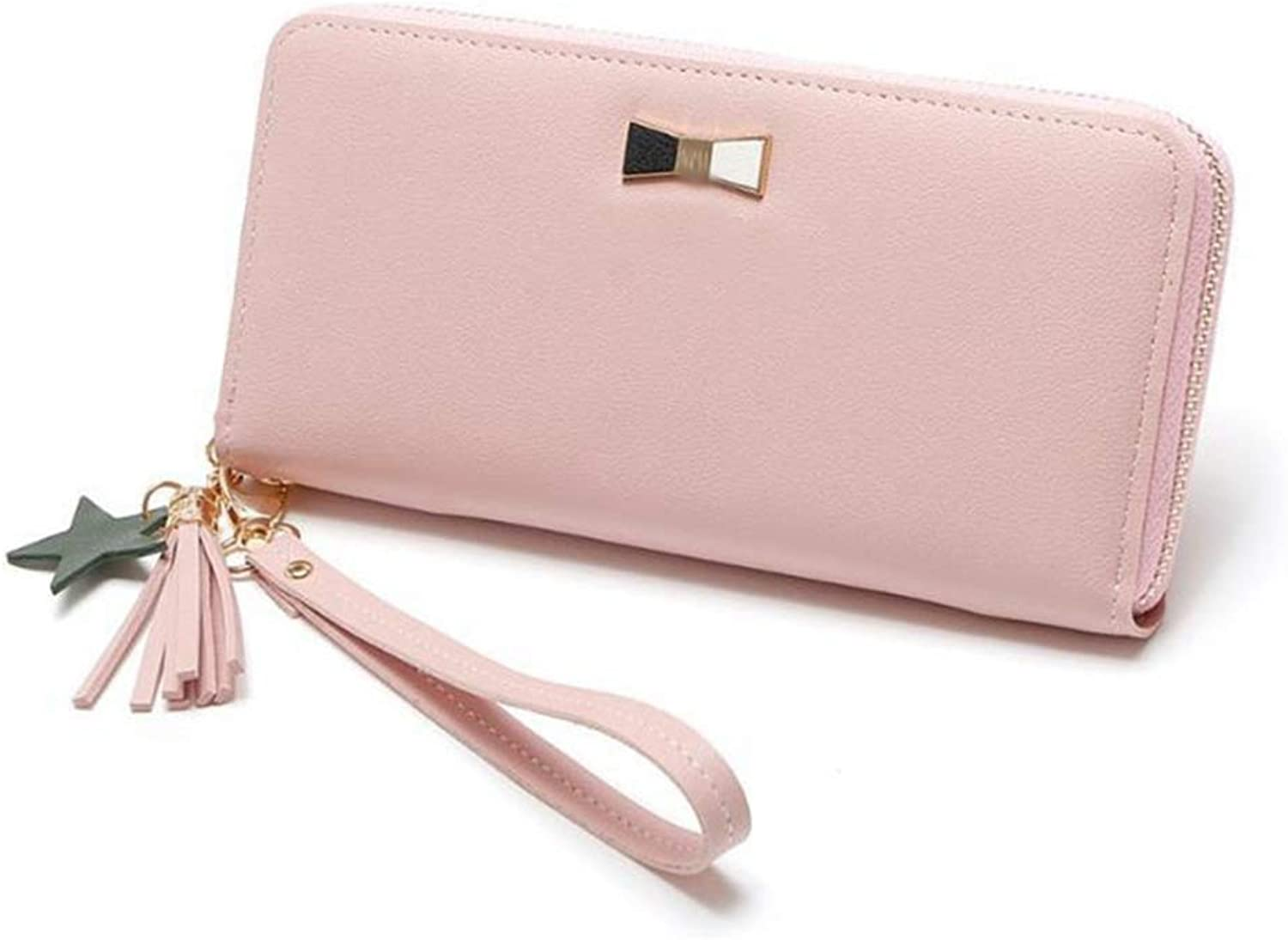 Girls Purse Lady's Purse Pu Lady's Zipper Wallet LargeCapacity Hand Bag with Stars Pendant (color   B)