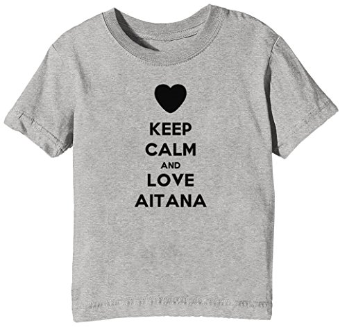 Keep Calm and Love Aitana Niños Unisexo Niño Niña Camiseta Cuello Redondo Gris Manga Corta Tamaño XL Kids Unisex Boys Girls T-Shirt Grey X-Large Size XL