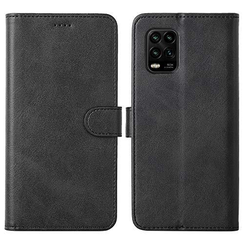 FUNMAX+ für Xiaomi Mi 10 Lite 5G Hülle, PU Leder Handyhülle mit 3 Kartenfächer, Schutzhülle Hülle Tasche Magnetverschluss Flip Cover Stoßfest für Mi 10 Lite 2020 (Schwarz)