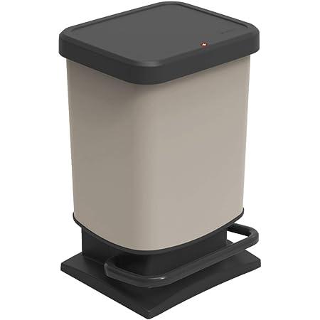 Rotho Paso Poubelle 20l avec pédale et couvercle, Plastique (PP) sans BPA, cappuccino, 20l (29.3 x 26.6 x 45.7 cm)