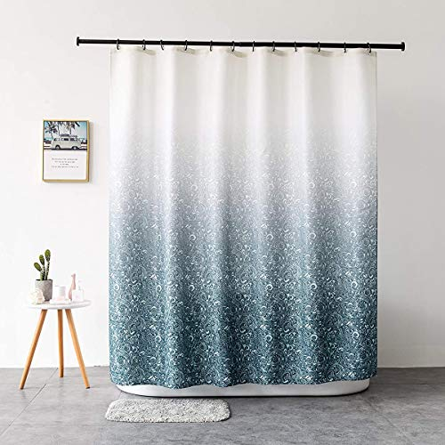 JRing Shower Curtain Polyester Fabric Machine Washable with 12 Hooks 72x72 Inch (Gradient Blue)