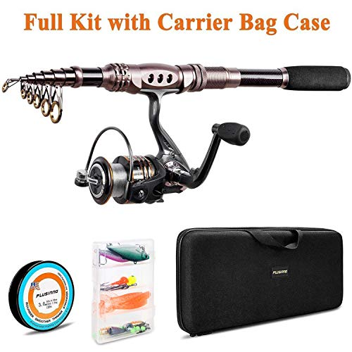 PLUSINNO Telescopic Fishing Rod Reel Combos Full Kit, Spinning Fishing Gear Organizer Pole Sets Line...