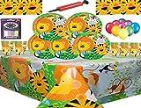 Jungle Animal Party Supplies Vajilla para 16 niños Fiesta de cumpleaños-16 Platos 16 Tazas 16 servilletas 1 Mantel con Globos Gratis Velas Bomba de Globo