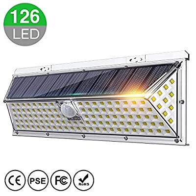 Solar Lights Outdoor, IC ICLOVER Super Bright 126 LED Waterproof Solar Motion Sensor Lights, 270° Wide Angle Lighting, Auto ON/OFF with 3 Optional Modes for Garden,Patio,Yard,Fence,Garage,Porch